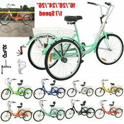 """1/7Speed Adult 24/26"""" 3-Wheel Tricycle Trike Bicycle Bike Cr"""