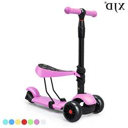 XJD 3-in-1 Extra-Wide Wheels Kick Scooter for Kids Toddler S