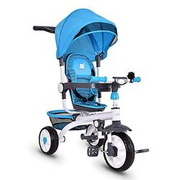 Costzon 4-in-1 Kids Tricycle Steer Stroller Toy Bike w/Canop
