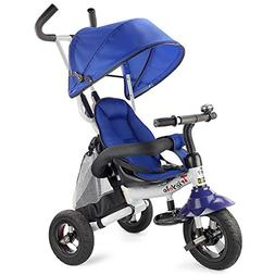 Costzon Baby Tricycle, 6-in-1 Ride On Steer Stroller, Learni