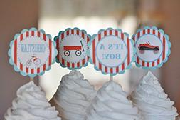 12 - Vintage Toys Car Wagon Tricycle Shower Cupcake Toppers