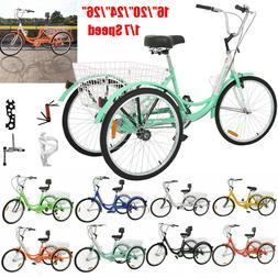 14''16''20''24''Adult Tricycles 1/7 Speed 3-Wheel Bike Cruis