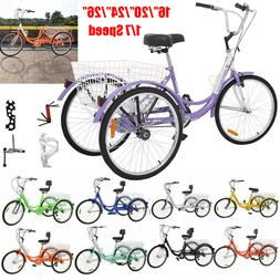 16/20/24/26'' 1/7 Speed Unisex Adult Tricycle 3 Wheel Bicycl