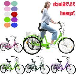 Adult Tricycle 20/24/26'' 1/7Speed 3Wheel Trike Bike W/Cr