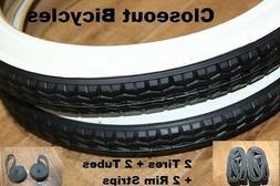 "2 NEW 16"" X 1.75"" DURO White Wall BICYCLE TIRES/Tubes/Strips"
