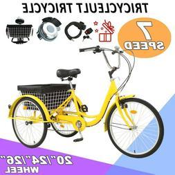 """20""""/24""""/26"""" Adult 7-Speed Tricycle 3 Wheels Trike Bicycle W."""