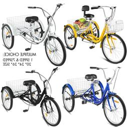 "20/24/26"" Adult Tricycle 1/7 Speed 3-Wheel For Shopping W/ I"