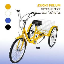 "20/24/26"" Adult Tricycle 1/7 Speed 3-Wheel Large Basket For"