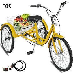 Adult Tricycle 20'' 1-Speed 3 Wheel Yellow Trike Bike Shoppi