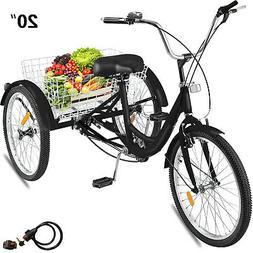 """Adult Tricycle 24"""" 1-Speed Trike 3-Wheel Bicycle w/ Basket &"""