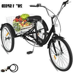"20"" Adult Tricycle 3-Wheel 1Speed Bicycle Trike Cruiser w/ L"
