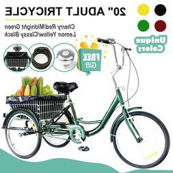"20"" Adult Trike Tricycle 3-Wheel Bike w/Basket for Shopping,"