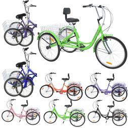 20'' Foldable/14/24/26'' 7 Speed 3-Wheel Adult Tricycle Trik