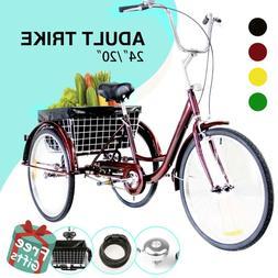"24""/20"" Adult Tricycle Trike 3-Wheel Cruise Bike w/Basket& L"