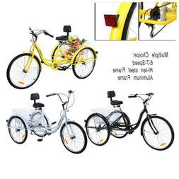"24""/26'' 6/7-Speed 3-wheel Unisex Adult Tricycle Bicycle Bas"