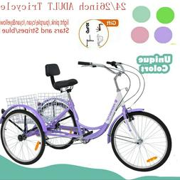 24/26inch 7speed Adult Tricycle Trike 3-Wheel Bike w/folded