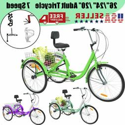 24/26inch Adult Tricycle Three Wheeled Bicycle 1/7Speed Bicy