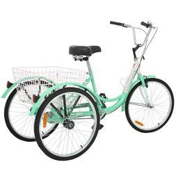 "24"" 3-Wheel 1-Speed Trike Adult Bright Color Tricycle Cyan B"