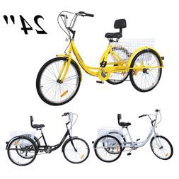 24'' 3 Wheel Adult Tricycle Basket Trike Cruise 300LBS Shima