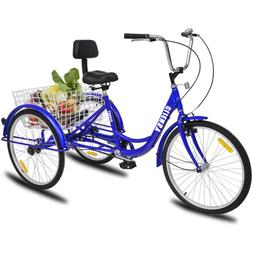 """24""""3-Wheel Bike 7-Speed Adult Tricycle Cruise With Practical"""