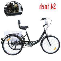 24'' 3 Wheel Shimano 7 Speed Adult Tricycle Basket Trike Cru