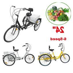 """24"""" 7-Speed Adult 3 Wheel Bicycle Tricycle Basket Cruiser El"""