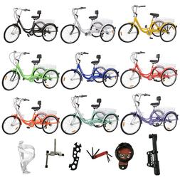 """24"""" 7 Speed Unisex Adult Tricycle 3 Wheel Bicycle Trike With"""
