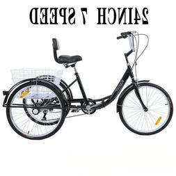 """24"""" Adult 3-Wheel 7-Speed Tricycle Trike Cruise Bike Steel W"""