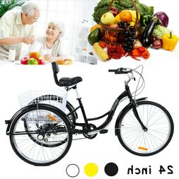 "24"" Adult 3 Wheel Bicycle Bike Tricycle 7 Speed Basket Cruis"