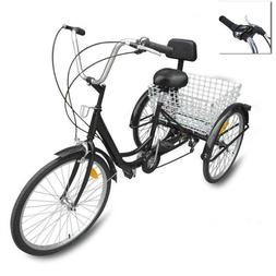 Ridgeyard 24 Adult 3 Wheel 7 Speed Low Step-through Bicycle