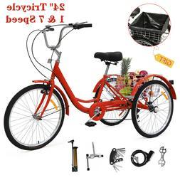 """24"""" Adult Tricycle 1&7 Speed 3 Wheels Trike Bicycle Bike w/S"""