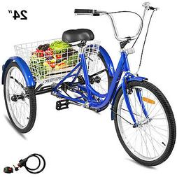 26'' Adult Tricycle 1-Speed 3 Wheel Blue W/Tools & Lock For