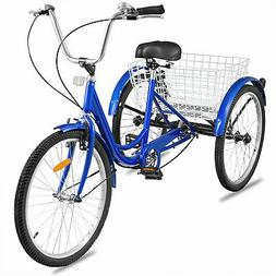 24'' Adult Tricycle 1-Speed 3 Wheel Blue convenient Comforta