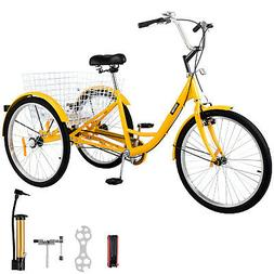 "Adult Tricycle 24"" 3-Wheel 1Speed Bicycle Trike Cruiser w/To"