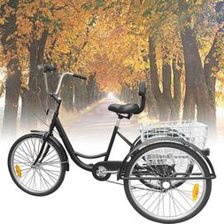 "24"" Adult Tricycle 3-Wheel 6 Speed Bicycle Trike Backrest Cr"