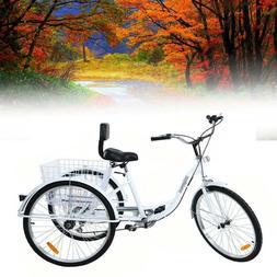 """Adult Black Tricycle 6-Speed 24"""" 3-Wheel Bicycle Trike Cruis"""
