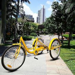 """24"""" Adult Tricycle 3-Wheel 7 Speed Bicycle Trike Backrest Ba"""