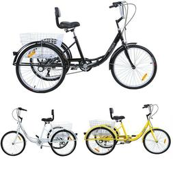 "24"" Adult Tricycle 3-Wheel Shimano 7 Speed Bicycle Trike Bik"