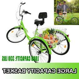 "24"" Adult Tricycle Three Wheel Trike Bike Cruiser with Rear"