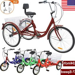 """24"""" Adult Tricycles 7 Speed 3 Wheel Cruise Bikes w/ Large Ba"""