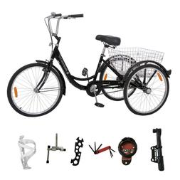24 Inch 3-Wheel Bike Adult Tricycle Trike Bicycle Cruise W/