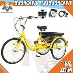 24 Inch Trike 7 Speed Adult Tricycle 3-Wheel Bike w/Basket f