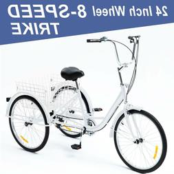24 Inch Trike 8 Speed Adult Tricycle 3-Wheel Bike w/Basket f