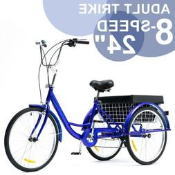 24 Inch Trike 8 Speed Adult Tricycle 3-Wheel Blue Bike w/Bas