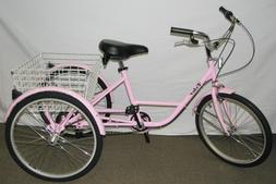 "24"" PINK ADULT TRICYCLE 6-SPEED SHIMANO SHIFTER  3-WHEELR TR"