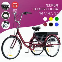 """26""""/24""""/20"""" 1/8 Speed Tricycle Trike 3-Wheel Cruise Bike w/B"""