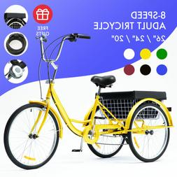 "26""/24""/20"" 8 Speed Adult Trike Tricycle 3-Wheel Bike w/Bask"