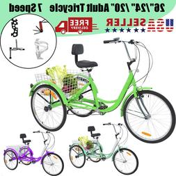 "26""/24""/20"" Adult Tricycle Trike with Large Size Basket for"