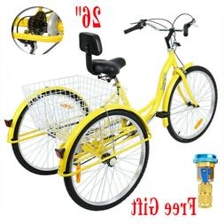 Ridgeyard 26'' 3 Wheel Adult Tricycle Basket Trike Cruise 7