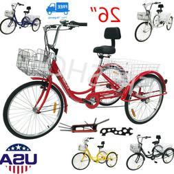 """26"""" 3-Wheel Tricycle 7-Speed Trike Bicycle Adult   Bike Crui"""